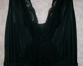 RESERVED for Jane Frances  Olga Nightgown Vintage Lacy Black Sweep, Size XXL