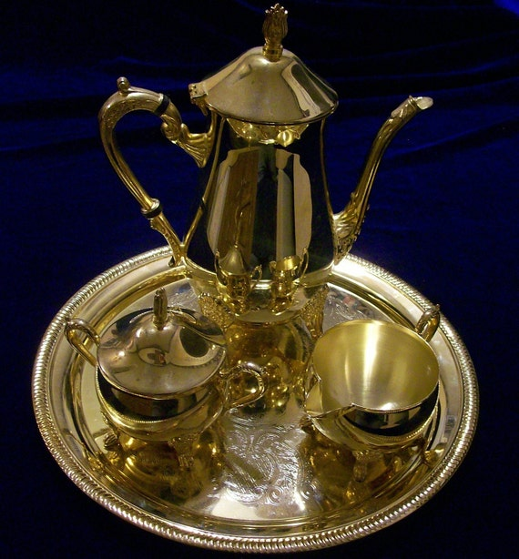Vintage Coffee Service Set Gold Electroplated