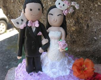 Custom handmade bride and groom clay wedding cake topper