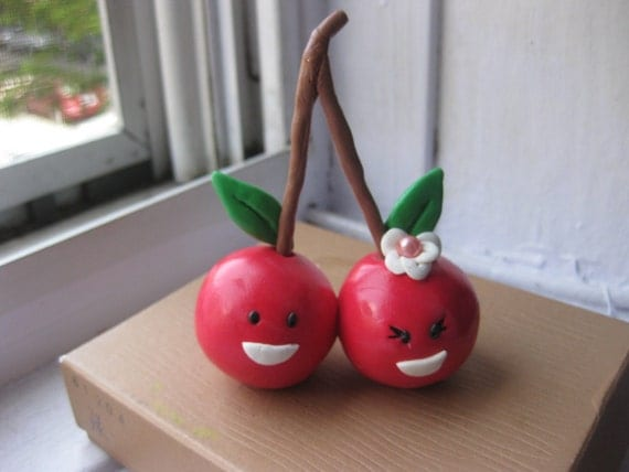Perfect pair Custom clay Cherry couple cake toppers