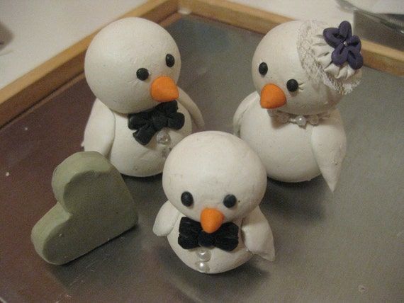 Bird Family Cake topper (Daddy, Mommy and Baby Bird )