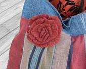 Upcycled Crossbody Large Stripped Purse with maroon flower