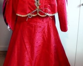 Red Taffeta Renaissance Outfit with hat-size small