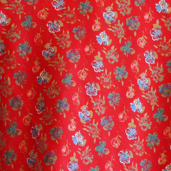 FABRIC13 Vintage POLYESTER PRINT Small Floral Bright Red 43 x 132 11-oz