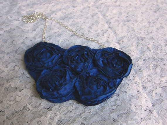 blue flower necklace, five small flowers - floral accessory, fabric necklace, necklace, floral jewelry, womens accessory, girl accessory