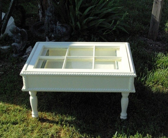 Shadow box old window coffee table optional light for Shadow box coffee table diy