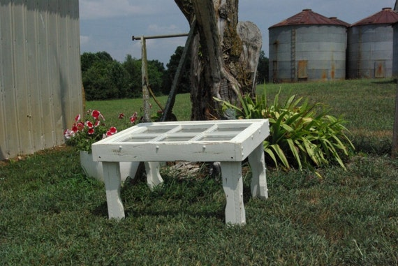 Rustic window coffee table , painted white and distressed