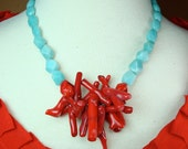 Coral and Amazonite Necklace