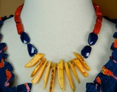 Yellow Navy and Red Statement Necklace