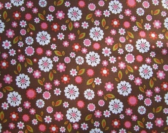 Brown Pink Floral  Fabric by the Yard Riley Blake