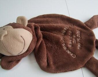 Monkey Cuddle Buddy Birth Announcement