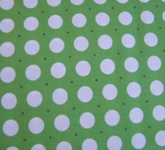 Reserved for Carol Sew Cherry CLEARANCE SALE Lori Holt Riley Blake Green dots 7 1/3 yards