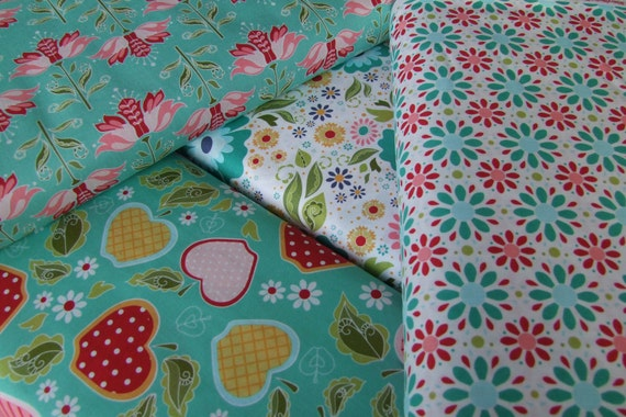 Riley Blake Apple of My Eye The Quilted Fish 1/2 yard each of 4 Prints