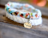 CLOUDY SKIES Braided Fabric Bracelet with Hand-Stamped Tag