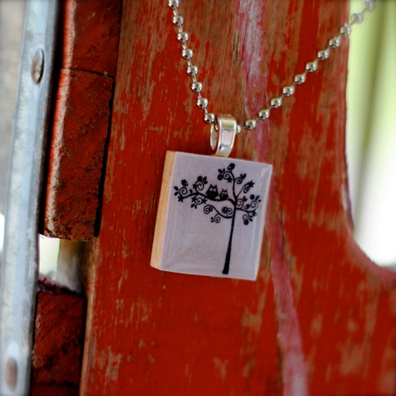 TREE with Owls and Birdies Scrabble Necklace
