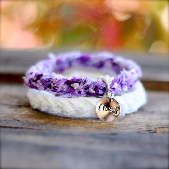 VERY VIOLET Braided Fabric Bracelet with Hand-Stamped Tag