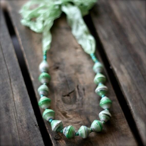 MINT GREEN Uganda Bead Necklace