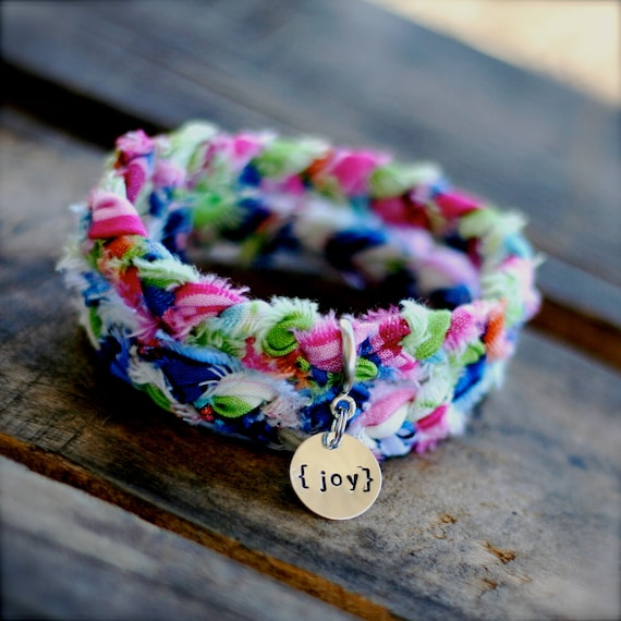 JELLYBEAN Braided Fabric Bracelet with Hand-Stamped Tag