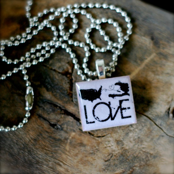 SCRABBLE Size HAITI Adoption Love Necklace