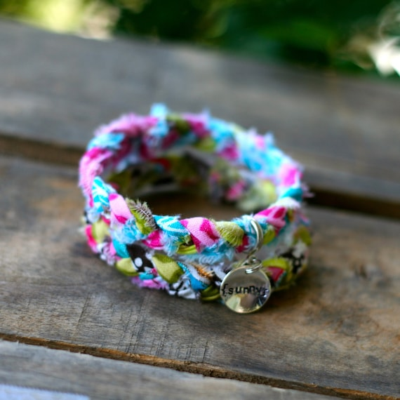 BRIGHT SUNNY DAY Braided Fabric Bracelet with Hand-Stamped Tag