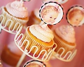 Vintage Baby Girl Birthday Cupcake Topper