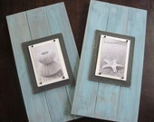 Set of 2 Long Turquoise  Plank Frames for 4x6 10.5X20