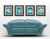 Set of Four 8x10 Turquoise and White Silhouette Coral Prints with 11x14 Mats