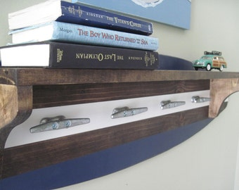 Navy Blue and White 4 Foot Wood Surfboard Coat Rack and Shelf