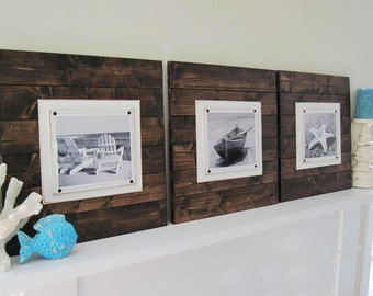 Set of 4 Xtra Large Dark Stained Plank Frames for 8x10