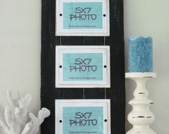 Black And White Triple Long Plank Frame For 5x7 Pictures