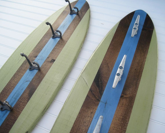 Green and Blue Large Wood Surfboard Coat Rack