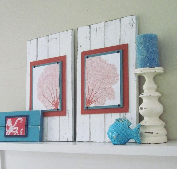 Set of 2 Large and Long Framed Sea Fan Prints 14x24 White and Orange Plank Frames for 8X10