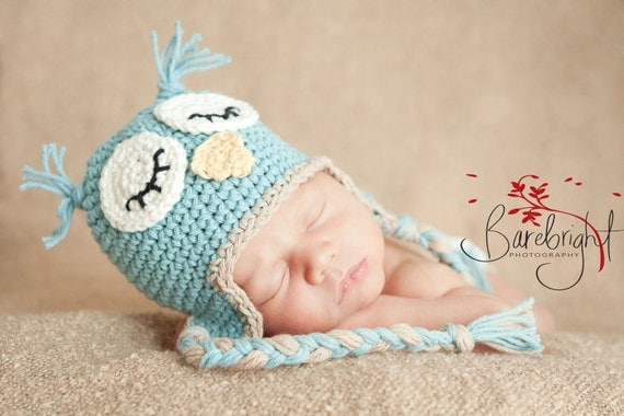 Baby Hat PATTERN , Newborn Hat Pattern, Owl Hat Pattern, Newborn to 12 months Included- Permission to Sell Finished Items