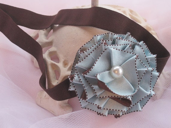 Brown and Blue Handmade Flower Headband