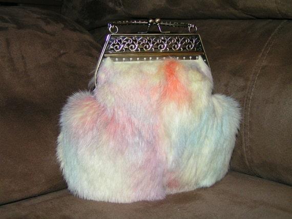 GENUINE RABBIT FUR Pastel Colored Purse Handbag Hand Sewn