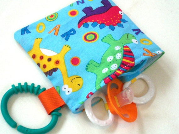 Pacifier Pouch Reusable Snack Bag With Clip On HAndle 5x5 Dinosaur Roar