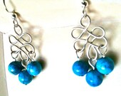 Celtic wire earrings with turqouise howlite beads
