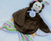Security Blanket Doll, Lovey for a Baby Girl, Brown Minky with Colorful Stripes