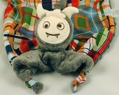 Monster Security Blanket, Lovey for a Baby Boy, Gray Minky Blankie, Soft Baby Toy