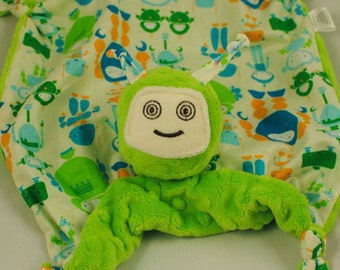 Robot Lovey Blanket, Soft Baby Toy, Green Minky Robot Blankie for a Baby Boy