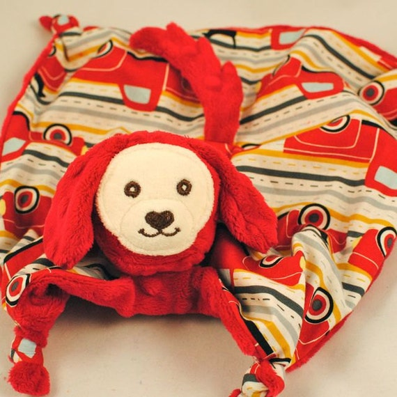 "Reserved for a Great Customer, 18"" Doggy Lovey, Red Minky Doggy Toy with Trucks and Pooches and Embroidery"