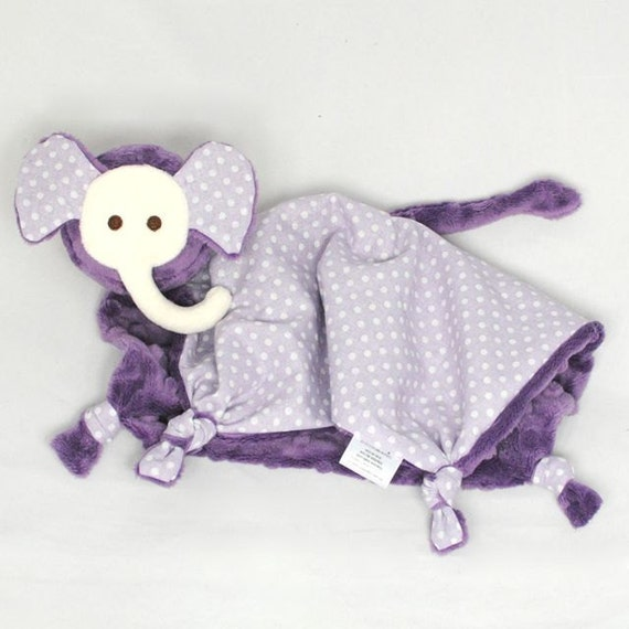 Violet Minky Elephant Security Blanket, Lovey Blanket, Girl Baby Blanket, Stuffed Animal, Baby Toy for a Girl