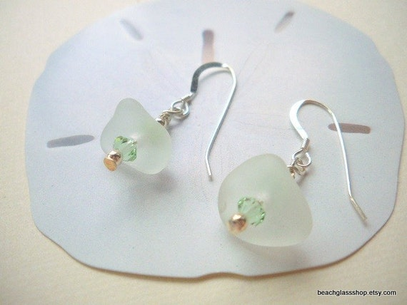 Seaglass Beach Glass White Earrings Lake Erie Cleveland Beach