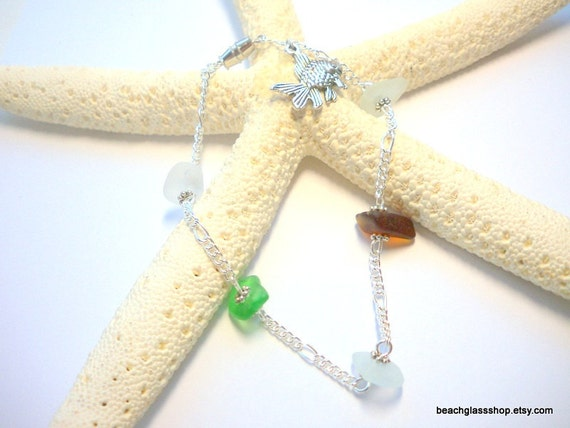 Sea Glass Repurposed Jewelry Sea Glass Beach Glass Ankle Bracelet   Multi Colored