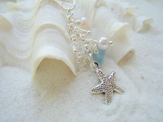 Sea Glass Beach Glass Necklace Starfish Embellished FREE SHIPPING