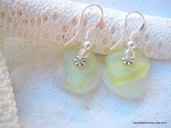 Seaglass Beach Glass RARE Citron Multi Colored  Earrings