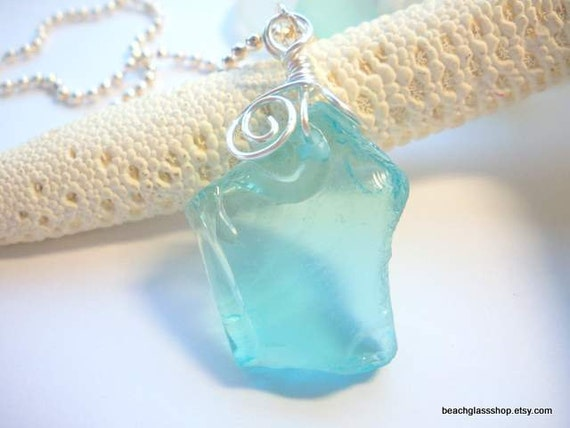 Sea Glass Beach Glass Recycled Glass  Necklace RARE AQUAMARINE  from the shores of Lake Erie