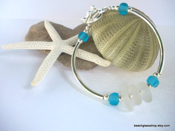 Seaglass Frosted White Bracelet Beachglass from the shores of Lake Erie
