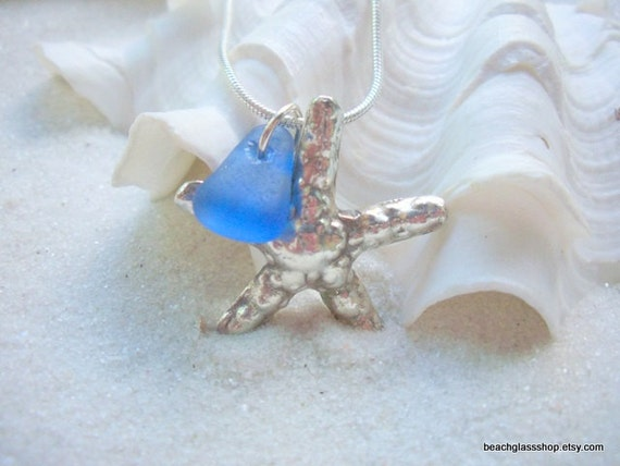 Beachglass Seaglass Starfish STERLING Necklace Starfish Charm