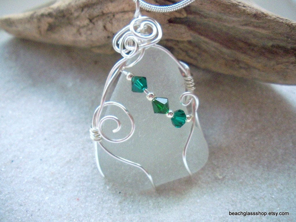 Sea Glass Beach Glass Wire Wrapped Necklace Lake Erie